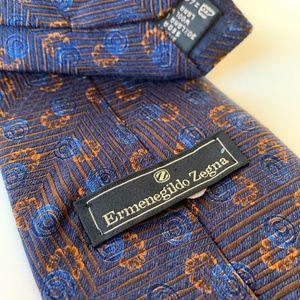 Ermenegildo Zegna Blue Pattern Mens Tie